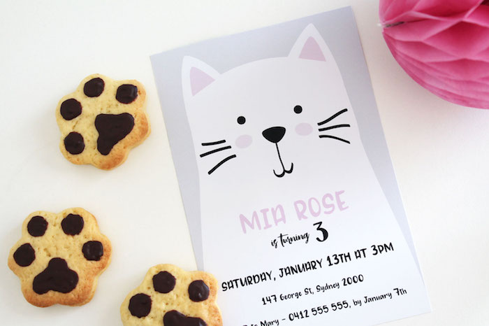 White Cat Party Invitation from a Cat Birthday Party on Kara's Party Ideas | KarasPartyIdeas.com (5)
