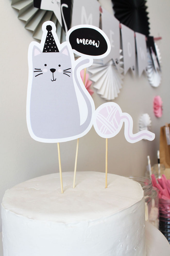 Cat Cake Topper from a Cat Birthday Party on Kara's Party Ideas | KarasPartyIdeas.com (20)