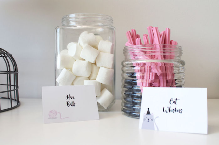 Marshmallow hair balls & licorice cat whiskers from a Cat Birthday Party on Kara's Party Ideas | KarasPartyIdeas.com (18)
