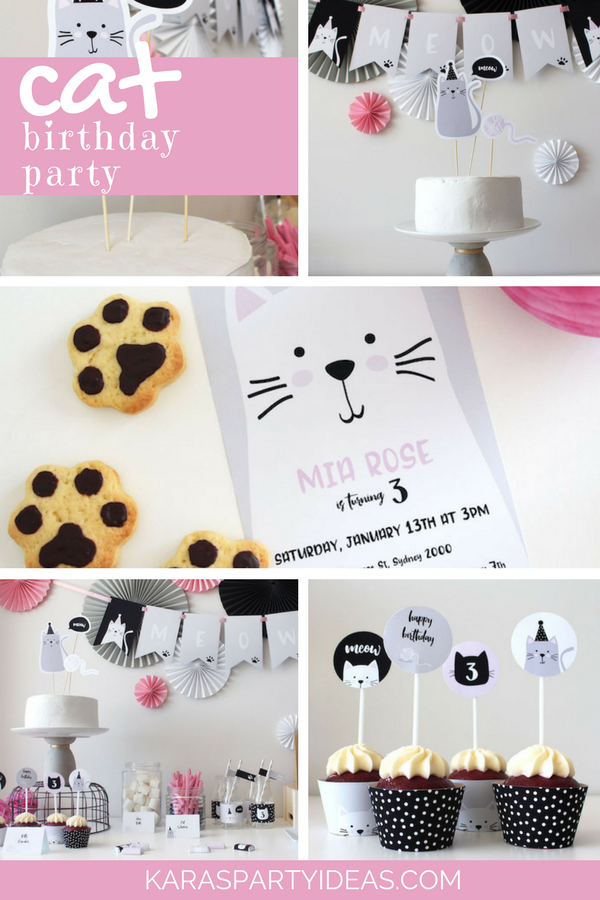 Cat Birthday Party via Kara's Party Ideas - KarasPartyIdeas.com