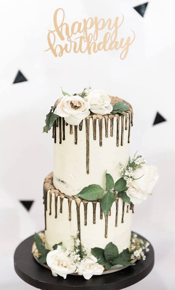 Double tiered drip cake from a Contemporary Scandinavian Birthday Party on Kara's Party Ideas | KarasPartyIdeas.com (31)