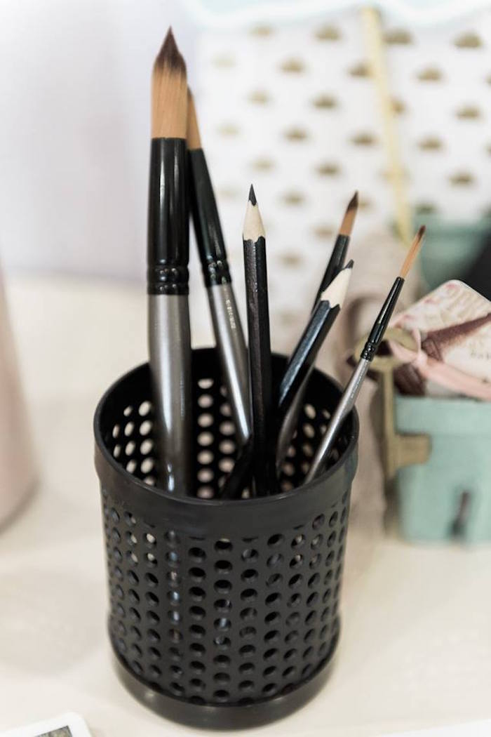 Pencils and paintbrushes from a Contemporary Scandinavian Birthday Party on Kara's Party Ideas | KarasPartyIdeas.com (16)