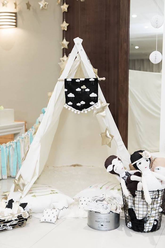 Tent from a Contemporary Scandinavian Birthday Party on Kara's Party Ideas | KarasPartyIdeas.com (1)
