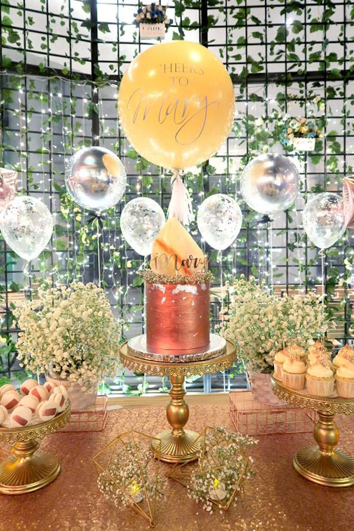 Cake table from an Elegant Glam Birthday Party on Kara's Party Ideas | KarasPartyIdeas.com (3)