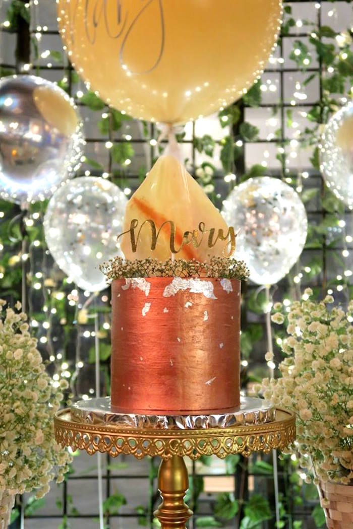 Copper Cake from an Elegant Glam Birthday Party on Kara's Party Ideas | KarasPartyIdeas.com (13)