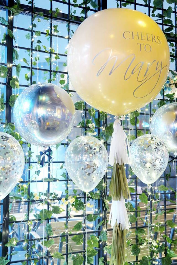 Balloon backdrop from an Elegant Glam Birthday Party on Kara's Party Ideas | KarasPartyIdeas.com (11)