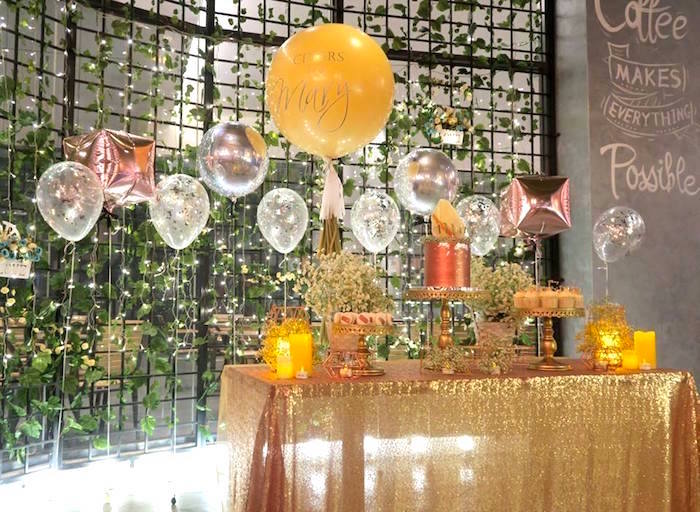 Shimmering dessert table from an Elegant Glam Birthday Party on Kara's Party Ideas | KarasPartyIdeas.com (10)