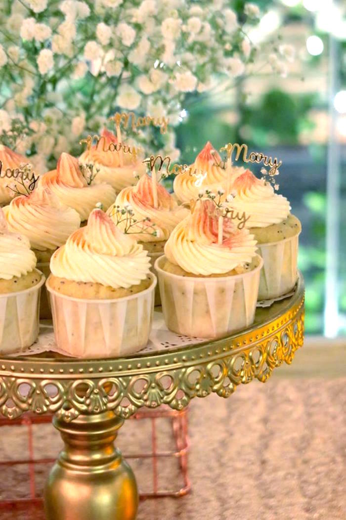 Cupcakes with custom name topper from an Elegant Glam Birthday Party on Kara's Party Ideas | KarasPartyIdeas.com (9)