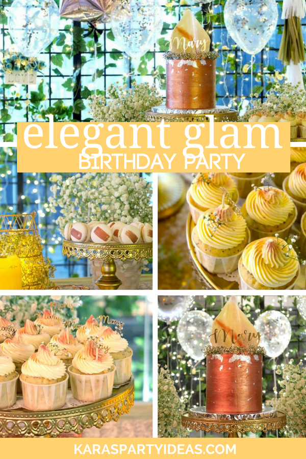 Elegant Glam Birthday Party via Kara's Party Ideas - KarasPartyIdeas.com