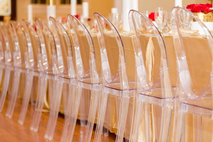 Ghost chairs from an Elegant Graduation Party on Kara's Party Ideas | KarasPartyIdeas.com (4)