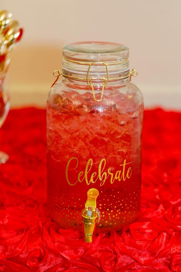 Snap lid beverage dispenser from an Elegant Graduation Party on Kara's Party Ideas | KarasPartyIdeas.com (3)