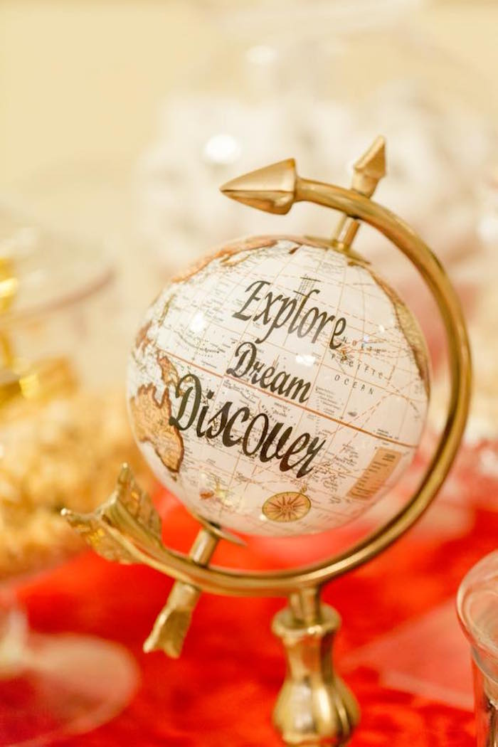 Dreamer globe from an Elegant Graduation Party on Kara's Party Ideas | KarasPartyIdeas.com (2)