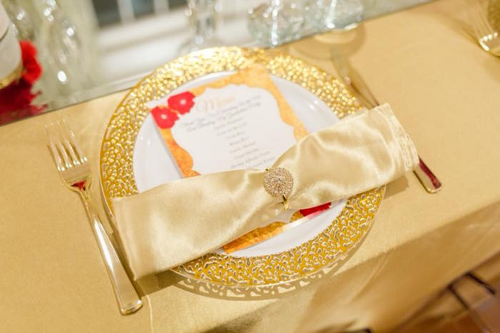 Gold table setting from an Elegant Graduation Party on Kara's Party Ideas | KarasPartyIdeas.com (12)