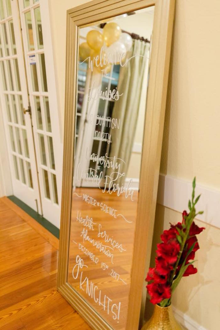 Mirror sign from an Elegant Graduation Party on Kara's Party Ideas | KarasPartyIdeas.com (7)