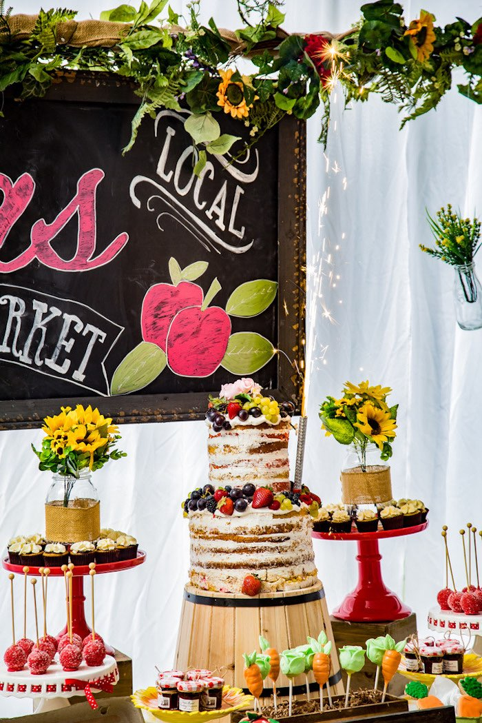 Cake table from a Farmers' Market Birthday Party on Kara's Party Ideas | KarasPartyIdeas.com (13)