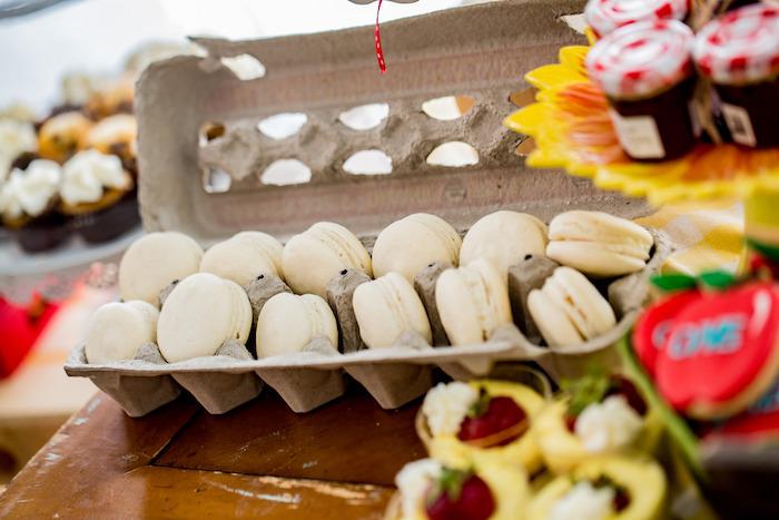 Macaron eggs from an Farmers' Market Birthday Party on Kara's Party Ideas | KarasPartyIdeas.com (7)