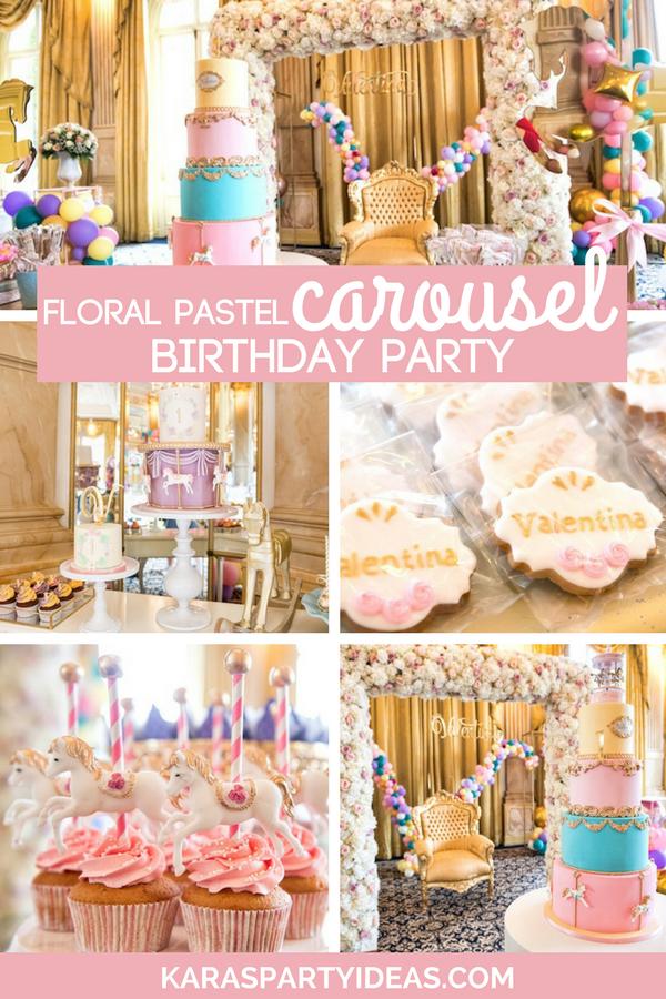 Floral Pastel Carousel Birthday Party via Kara's Party Ideas - KarasPartyIdeas.com