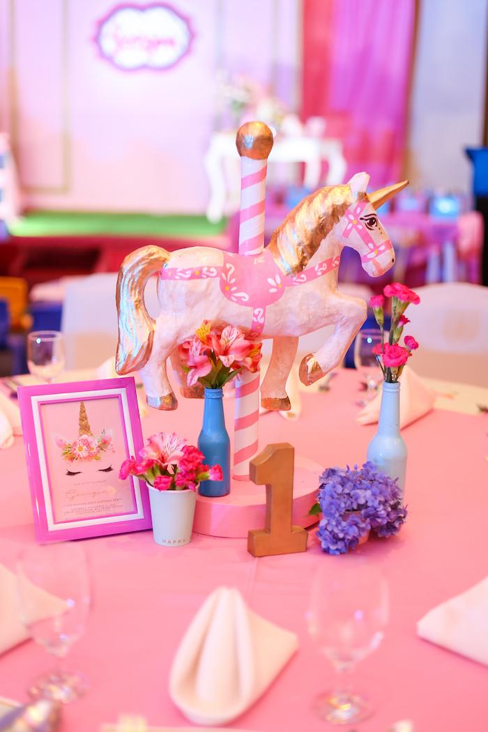 Unicorn table centerpiece + decor from a Flowers, Twinkles & Unicorn Birthday Party on Kara's Party Ideas | KarasPartyIdeas.com (7)
