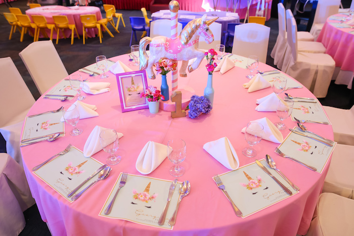 Unicorn guest table from a Flowers, Twinkles & Unicorn Birthday Party on Kara's Party Ideas | KarasPartyIdeas.com (5)