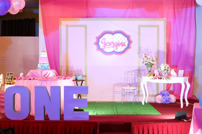 Cake lounge from a Flowers, Twinkles & Unicorn Birthday Party on Kara's Party Ideas | KarasPartyIdeas.com (4)