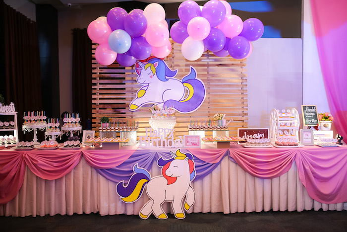 Dessert table from a Flowers, Twinkles & Unicorn Birthday Party on Kara's Party Ideas | KarasPartyIdeas.com (3)