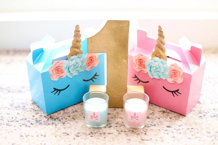Unicorn gable boxes + favors from a Flowers, Twinkles & Unicorn Birthday Party on Kara's Party Ideas | KarasPartyIdeas.com (16)