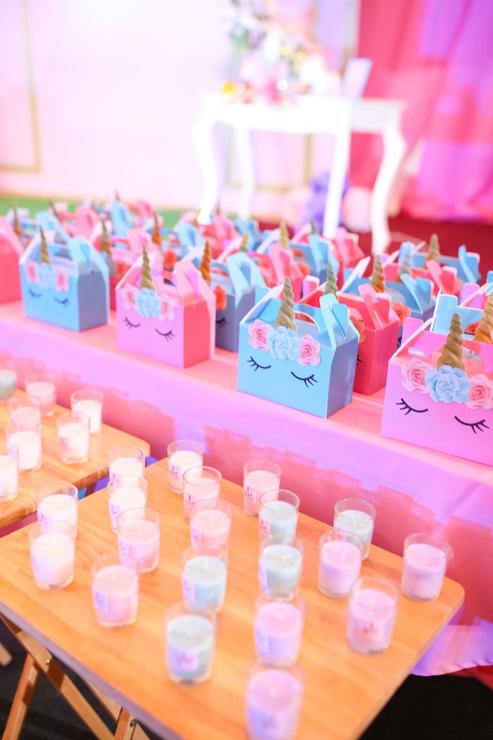 Unicorn gable boxes from a Flowers, Twinkles & Unicorn Birthday Party on Kara's Party Ideas | KarasPartyIdeas.com (12)