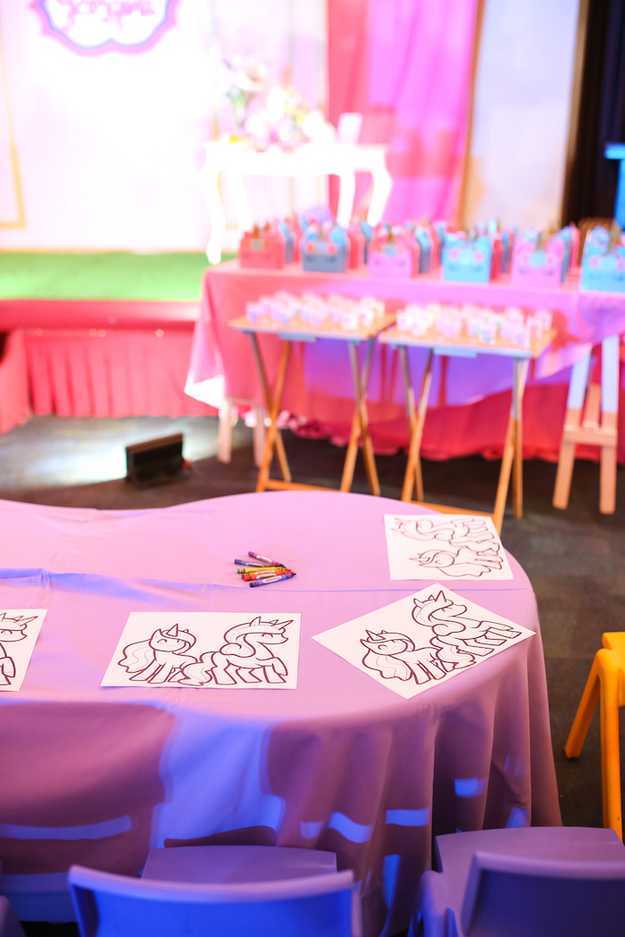 Coloring table from a Flowers, Twinkles & Unicorn Birthday Party on Kara's Party Ideas | KarasPartyIdeas.com (11)