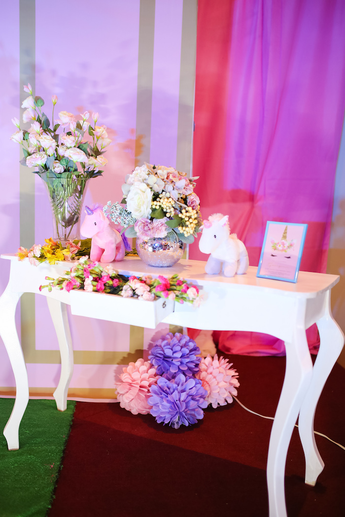 Highlight table from a Flowers, Twinkles & Unicorn Birthday Party on Kara's Party Ideas | KarasPartyIdeas.com (10)