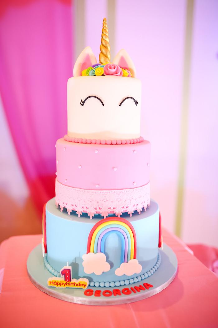 Unicorn Rainbow Cake from a Flowers, Twinkles & Unicorn Birthday Party on Kara's Party Ideas | KarasPartyIdeas.com (9)