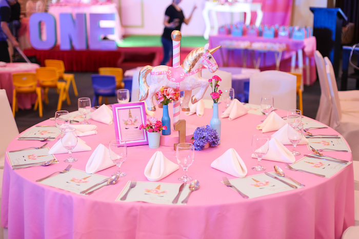 Unicorn themed guest table from a Flowers, Twinkles & Unicorn Birthday Party on Kara's Party Ideas | KarasPartyIdeas.com (8)