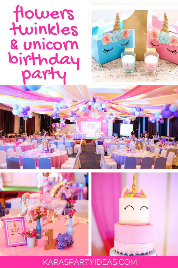Flowers Twinkles Unicorn Birthday Party via Kara's Party Ideas - KarasPartyIdeas.com