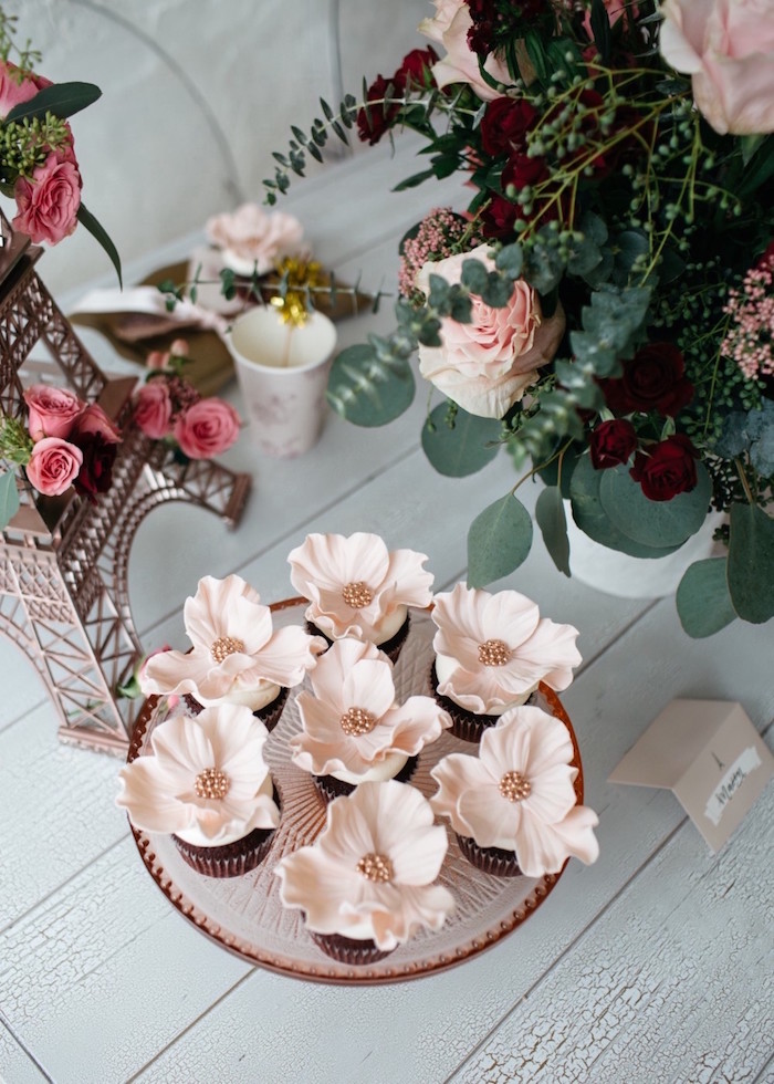 Flower cupcakes from a French Flower Market Inspired Birthday Party on Kara's Party Ideas | KarasPartyIdeas.com (10)