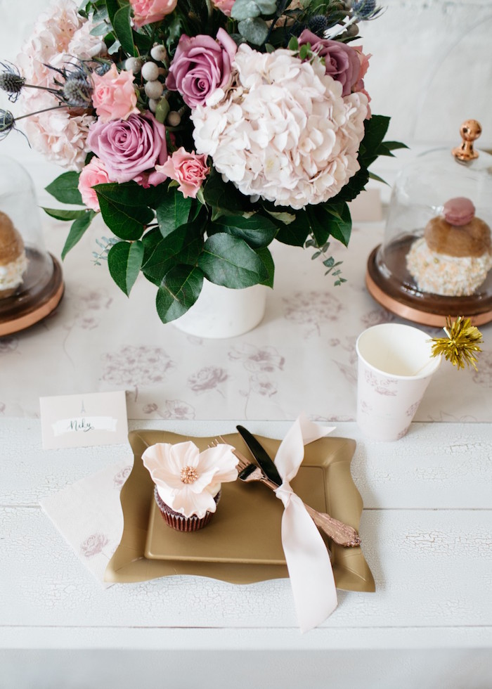 Table setting from a French Flower Market Inspired Birthday Party on Kara's Party Ideas | KarasPartyIdeas.com (9)
