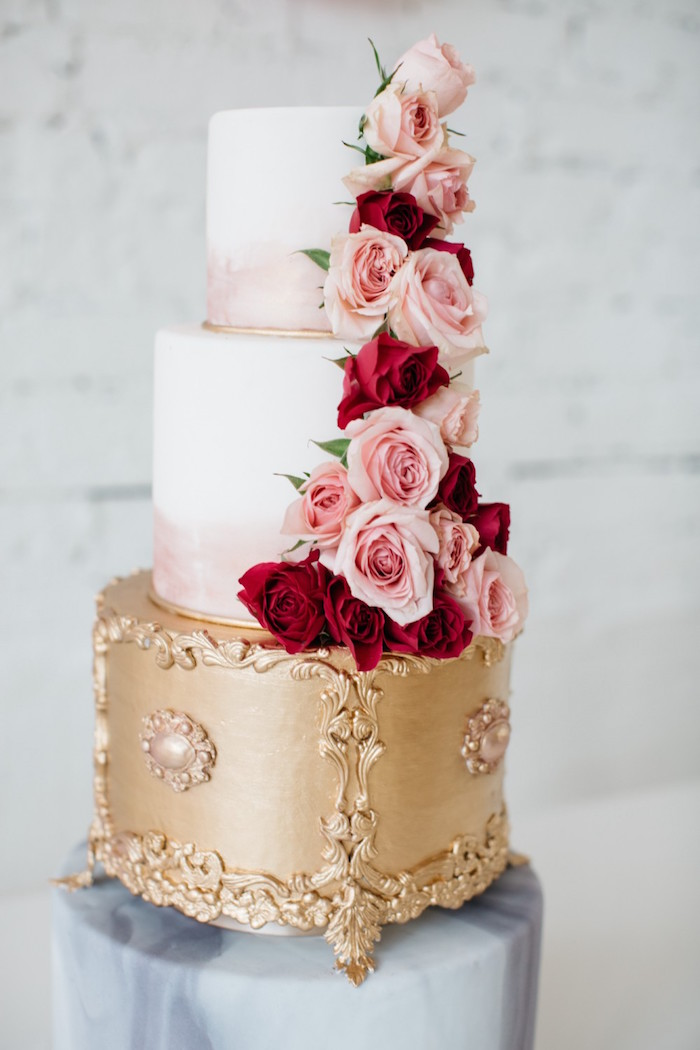 Rose-adorned cake from a French Flower Market Inspired Birthday Party on Kara's Party Ideas | KarasPartyIdeas.com (6)