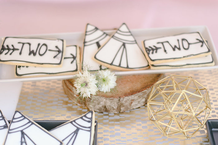 Boho Cookies from a Geometric Boho Wild & Free Birthday Party on Kara's Party Ideas | KarasPartyIdeas.com (14)