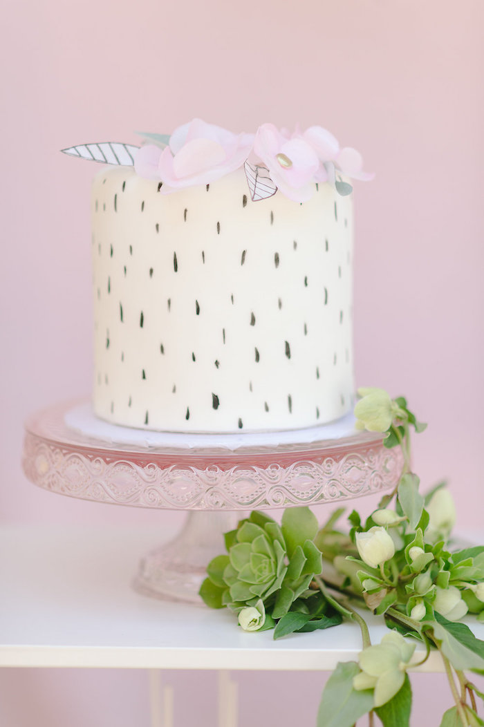 Speckled cake from a Geometric Boho Wild & Free Birthday Party on Kara's Party Ideas | KarasPartyIdeas.com (10)