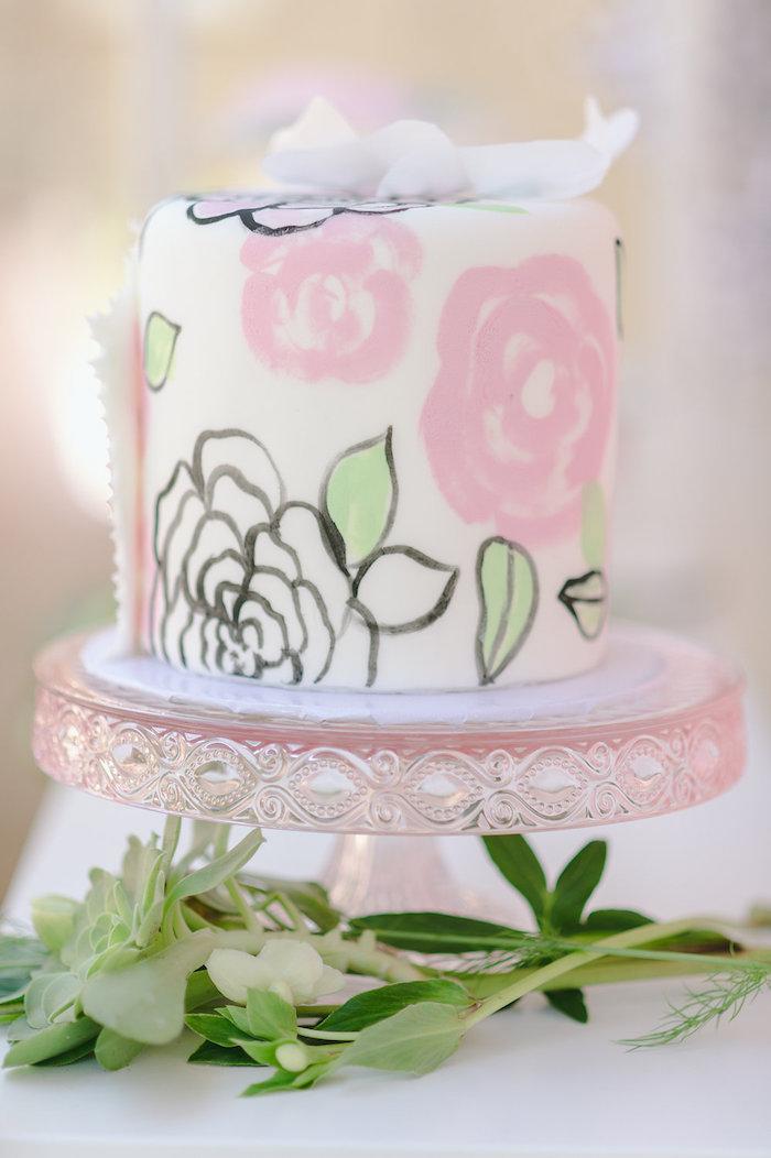 Floral cake from a Geometric Boho Wild & Free Birthday Party on Kara's Party Ideas | KarasPartyIdeas.com (8)
