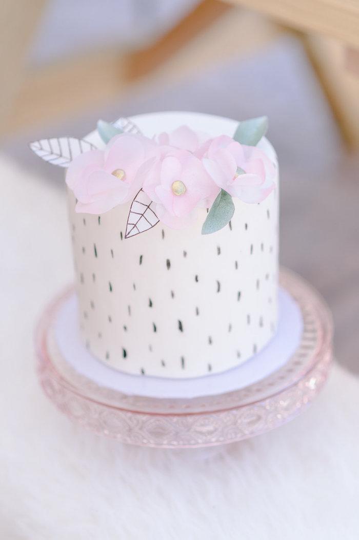 Speckled boho cake from a Geometric Boho Wild & Free Birthday Party on Kara's Party Ideas | KarasPartyIdeas.com (21)