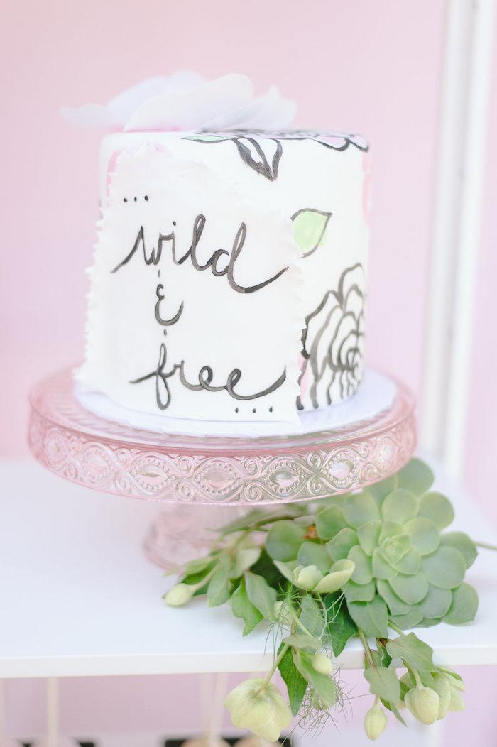Wild & Free Cake from a Geometric Boho Wild & Free Birthday Party on Kara's Party Ideas | KarasPartyIdeas.com (19)