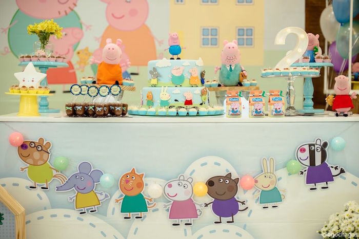 Character banner + dessert table from a George Pig Birthday Party on Kara's Party Ideas | KarasPartyIdeas.com (17)