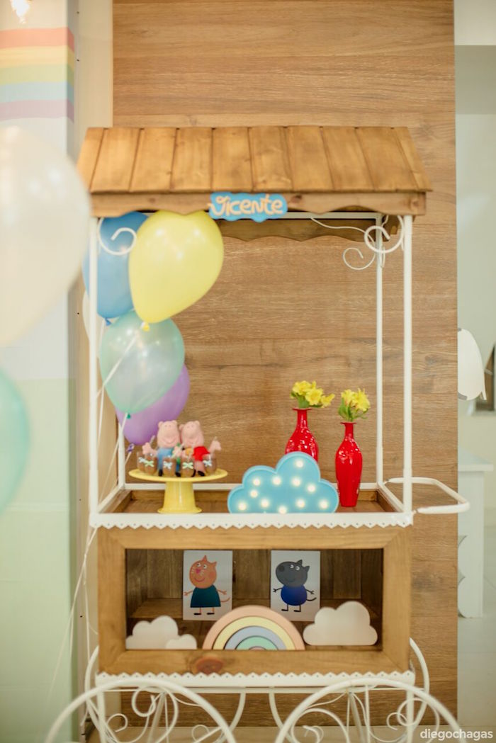 Wooden party cart from a George Pig Birthday Party on Kara's Party Ideas | KarasPartyIdeas.com (16)