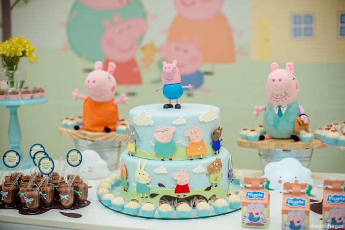 Peppa Pig Cake from a George Pig Birthday Party on Kara's Party Ideas | KarasPartyIdeas.com (14)