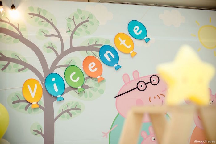 Balloon name banner from a George Pig Birthday Party on Kara's Party Ideas | KarasPartyIdeas.com (12)