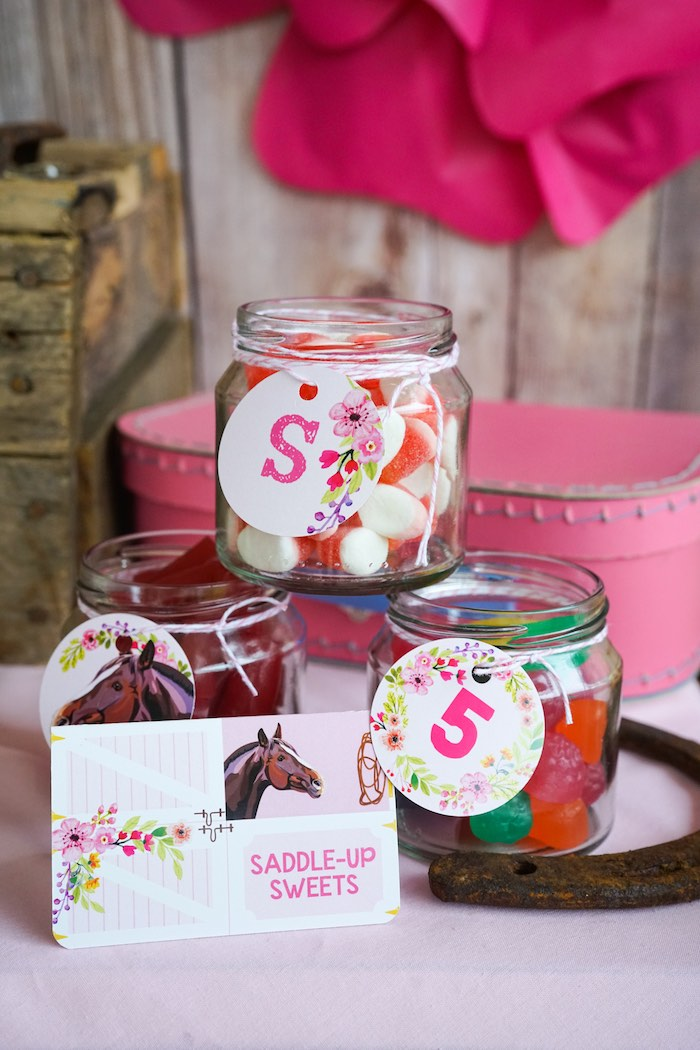 Saddle-Up Sweet Jars from a Girly Horse Birthday Party on Kara's Party Ideas | KarasPartyIdeas.com (13)