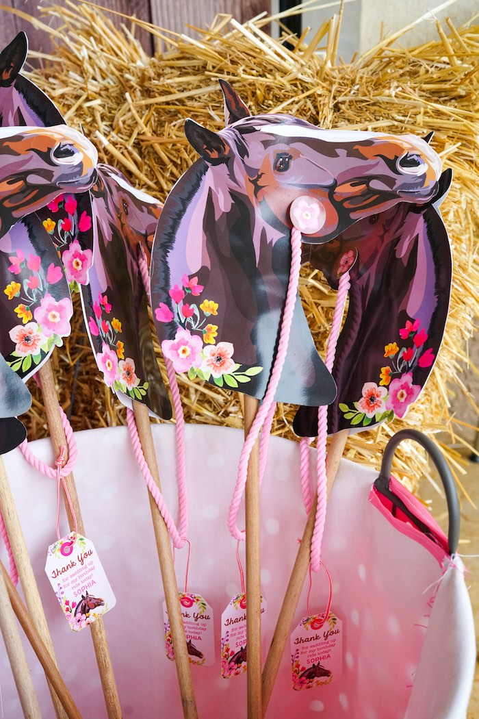 Stick Horse favors from a Girly Horse Birthday Party on Kara's Party Ideas | KarasPartyIdeas.com (10)