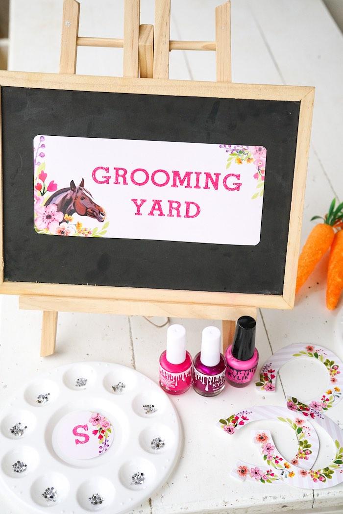Grooming Yard nail activity station from a Girly Horse Birthday Party on Kara's Party Ideas | KarasPartyIdeas.com (8)