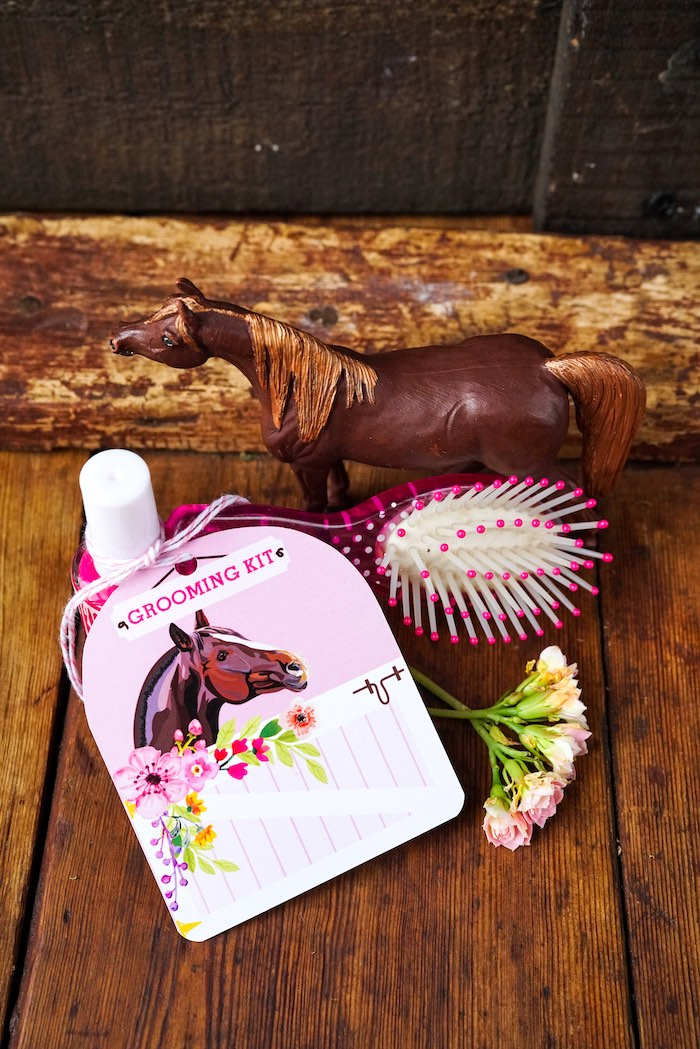Horse Grooming Kit Favor from a Girly Horse Birthday Party on Kara's Party Ideas | KarasPartyIdeas.com (5)