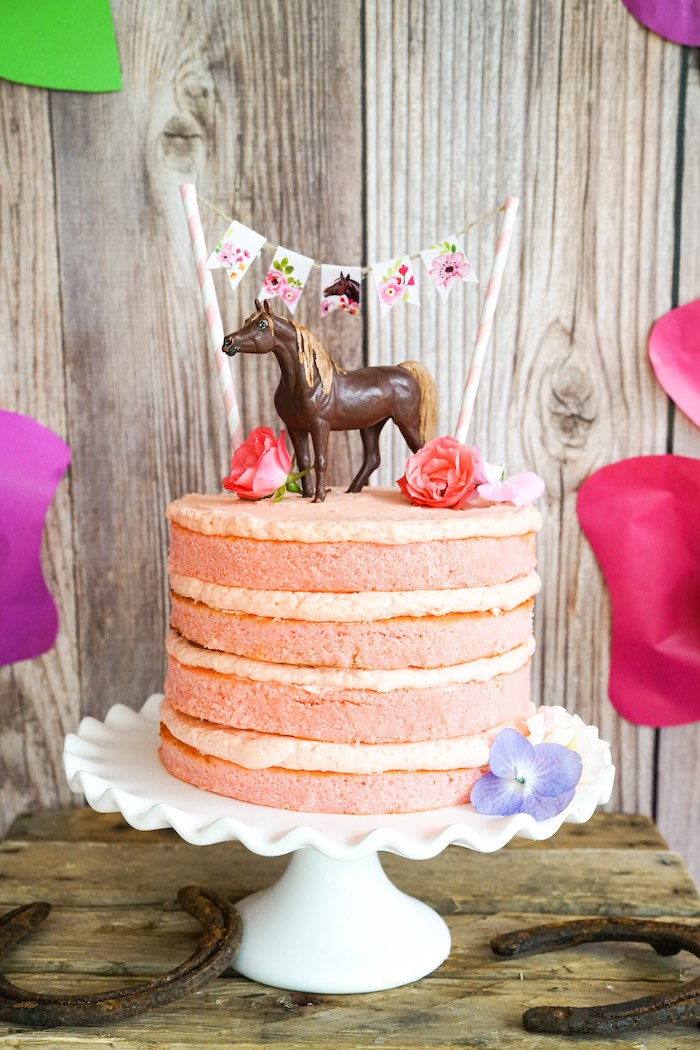 Pink naked cake from a Girly Horse Birthday Party on Kara's Party Ideas | KarasPartyIdeas.com (15)