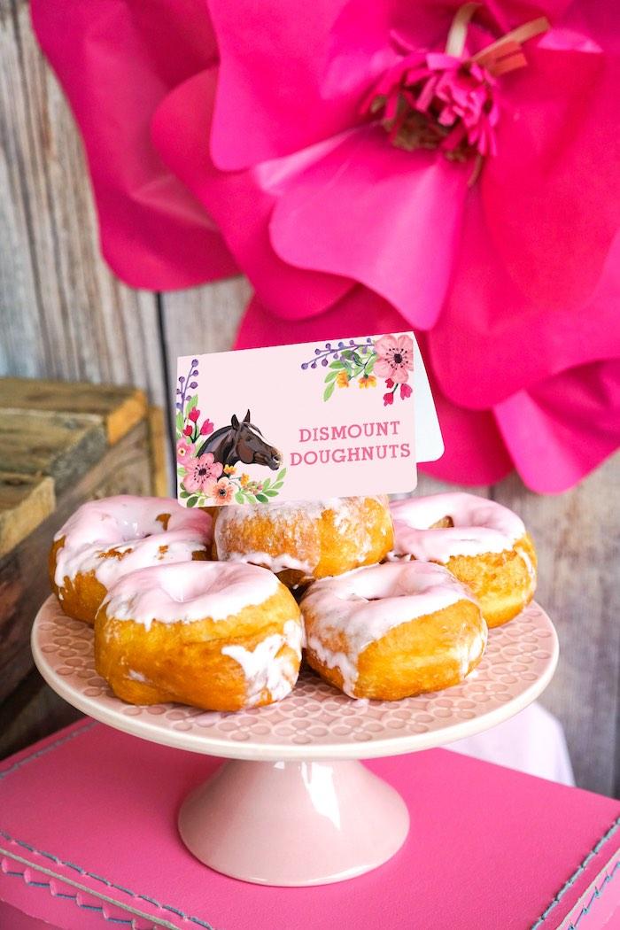 Dismount Doughnuts from a Girly Horse Birthday Party on Kara's Party Ideas | KarasPartyIdeas.com (14)